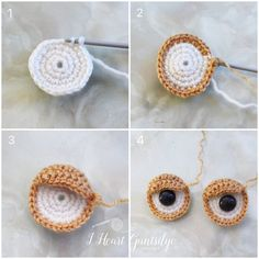 Crochet eyes for turtle. Mayhap use for other animals in amigurumi. Free Pattern for Crochet Turtle Buddy. Crochet Easter, Crochet Baby Toys, Crochet Patterns Amigurumi, Amigurumi Doll, Crochet Animals, Crochet Dolls, Crochet Stitches, Baby Knitting, Knitting Patterns