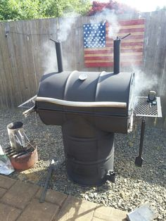 Home made drum smoker. 2 used 55 gal drums. Some scrap metal and a lot of time under hood welding. Less than $100. I can BBQ/smoke (low n slow) 4 14lb briskets at once.