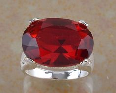 Red Garnet 12.86 ct Gemstone 925 Sterling Silver Ring Sz 8 Womens Statement #Unbranded #Cocktail