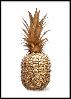 Plakat med ananas og frugter i guld.