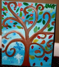 Four Seasons Tree Acrylic on 11x13 Canvas by smARTartBYMcSwish