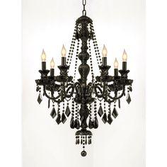 Crystal Jet Black 7-light Chandelier Pendant - Overstock™ Shopping - Great Deals on Gallery Chandeliers & Pendants