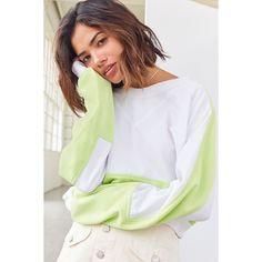 Without Walls Catie Color Block Crew-Neck Sweatshirt ($59) ❤ liked on Polyvore featuring tops, hoodies, sweatshirts, crew-neck sweatshirts, colourblock sweatshirt, color-block sweatshirt, long sleeve sweatshirt and raglan sweatshirt