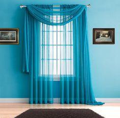 Warm Home Designs Premium Sheer Blue Teal Window Scarves or Rod Pocket Sheer Teal Curtains