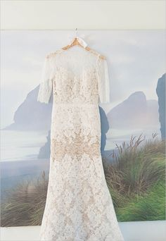 Lace overlay Watters wedding gown.