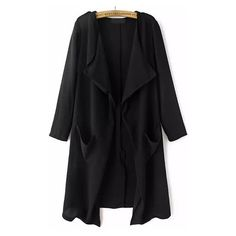 With Pockets Loose Black Coat ($31) ❤ liked on Polyvore featuring outerwear, coats, jackets, cardigans, casacos, black, black trenchcoat, long trench coat, trench coat et black coat