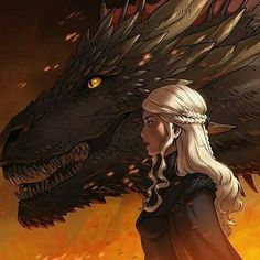 Game of Thrones - Daenerys Targaryen, A Song of Fire & Ice by Rogie Custodio on Behance Game Of Thrones Artwork, Game Of Thrones Dragons, Got Dragons, Mother Of Dragons, Fantasy Dragon, Fantasy Art, Youtube Drawing, Game Of Thones, Fanart