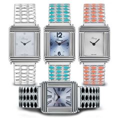 Brazaletes para los relojes POIRAY Ma Première diseñados por Alexandra Margnat Smileys, Square Watch, Bracelet Watch, Luxury Fashion, Watches, Accessories, Comme, Bangles, Jewels