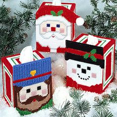 Leisure Arts - Plastic Canvas Cheery Faces Tissue Box Covers Pattern ePattern, $4.99 (http://www.leisurearts.com/products/plastic-canvas-cheery-faces-tissue-box-covers-pattern-digital-download.html)