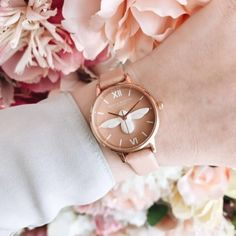 We ❤  MCR 3D Bee Rose Petal Dial, Dusty Pink, Rose Gold & Silver