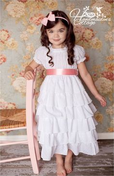 Another popular design from the Handmaidens Cottage, this Petticoat dress is designed to be worn alone or under a jumper or pinafore to add Little Girl Summer Dresses, Flower Girl Dresses, Girls Dresses, Sewing Patterns For Kids, Sewing For Kids, Sewing Ideas, Toddler Fashion, Girl Fashion, Dress Tutorials