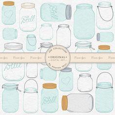 Professional Mason Jar Clip Art / Jar Vectors  von AmandaIlkov