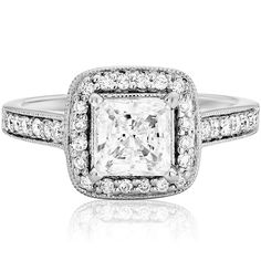 Square Halo Engagement Rings, Dream Engagement Rings, Classic Engagement Rings, Princess Cut Engagement Rings, Designer Engagement Rings, Square Wedding Rings, Engagement Ideas, Princess Cut Halo Ring, White Gold Rings