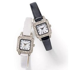 "Timeless elegance. This dazzling watch will take you effortlessly from day to evening. Silvertone rhinestone-accented case with a leatherlike strap. Offered in black or white.  · Band: 9"" L x 3/8"" W with buckle closure· Battery: Replaceable SR626SW· Movement: Quartz-PC21J· Imported"
