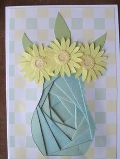 Iris Paper Folding Flowers in Vase Card  www.caguimbalcreations.weebly.com