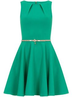 Green belted flared dress - Fit & Flare Dresses  - Dresses