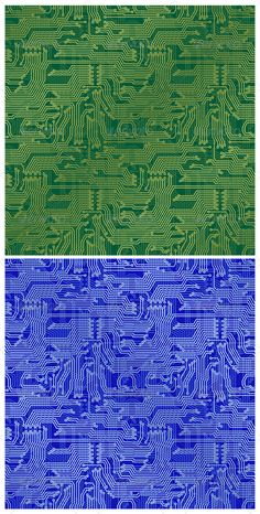 Circuit Board Backgrounds Electronic circuit board. Tileable seamless repeating vector backgrounds in blue and green.