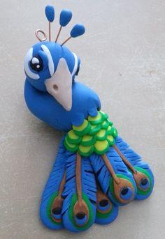 Custom Handmade Animal Polymer Clay Ornaments- Peacock
