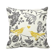 Trendy Yellow Gray Vintage Floral Bird Pattern Cushion Cover Pillowcase 18x18 Hidden Zipper Cotton Polyester Pillow Cover Twin Sides