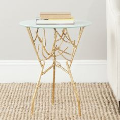 Safavieh Treasures Tara Gold/ Blue-white Top Accent Table | Overstock.com Shopping - The Best Deals on Coffee, Sofa & End Tables