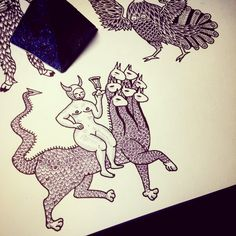 Instagram donata.k  Evil girl riding on a dragon line work tattoo design inspired by medieval art
