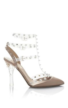 Valentino - Naked Rockstud Transparent Sling Back