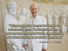 """The dedication of the Rome Italy Temple is """"a hinge point in the history of the Church,"""" President Nelson—who holds all the keys to the Church—expressed standing near the statue of Peter holding keys (symbolic of Matthew 16:19, where Christ promised his apostle, """"I will give unto thee the keys of the kingdom of heaven: and whatsoever thou shalt bind on earth shall be bound in heaven""""). """"Things are going to move forward at an accelerated pace. The Church is going to have an unprecedented… Prophet Quotes, Gospel Quotes, Lds Quotes, Religious Quotes, Great Quotes, Powerful Quotes, Uplifting Quotes, Inspirational Quotes, Spiritual Thoughts"""