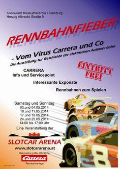 Ausstellung zur Geschichte der elektrischen Autobahn - Flyer der Veranstaltung Rennbahnfieber Scalextric