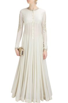 Ivory embroidered floor length kalidaar kurta with ivory gota border lehanga available only at Pernia's Pop Up Shop.
