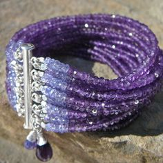 """Get our """"The Natalia"""" Amethyst and Tanzanite Multi-Strand Bracelet on Open Sky today for #freeshipping!"""