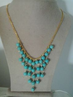 Turquoise and gold chain necklace