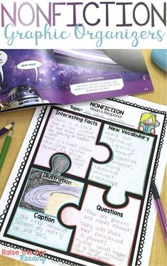 53 Nonfiction Graphic Organizers for Reading Comprehension! Perfect for students in Grades to use with any informational text. Some topics included are text features, nonfiction text structure, point of view, summarizing, and Reading Lessons, Reading Skills, Teaching Reading, Math Lessons, Spanish Lessons, Teaching Spanish, Learning, Graphic Organizer For Reading, Graphic Organizers