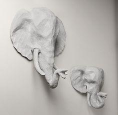 Papier-Mâché Elephant Head; Restoration Hardware Baby & Child