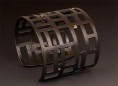 oxidized silver two inch square grid cuff with diamonds  maria samora