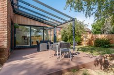 Aspire glass roof veranda from SunSpaces. Modern veranda design - perfect for outdoor relaxation! Request your FREE veranda quote today. Glass House Design, Diy Awning, Patio Enclosures, Backyard Patio Designs, Composite Decking, Glass Roof, Patio Roof, Gallery, Outdoor Decor