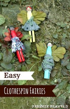 Easy Clothespin Fairies- Perfect for fairy gardens & creative play! garden ideas eyfs FreshlyPlanted: Magical Fairy Clothespin Dolls to Make with Kids Forest School Activities, Craft Activities, Fairy Crafts, Doll Crafts, Craft Font, Theme Halloween, Clothespin Dolls, Clothespin Crafts, Fairy Dolls