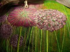 Dandelion Free Motion Embroidery, Embroidery Art, Embroidery Stitches, Machine Embroidery, Thread Art, Thread Painting, Textile Fiber Art, Textile Artists, Creative Textiles