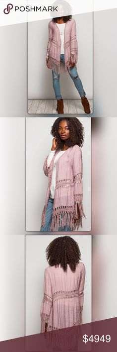 Coming Soon! Mauve Fringe Cardigan Ships next week! Anything but expected! This long sleeve cardigan has an asymmetrical back  and flirty fringe at the hem and cuffs. Gorgeous mauve color adds a girly touch. Like to be notified when it arrives or comment to pre-order for only $39. Price is $49. NEW Boutique Tops