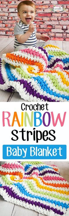 Crochet rainbow stripes baby blanket is beginner friendly and easy to follow with a free video tutorial and written pattern - the perfect baby shower gift!: