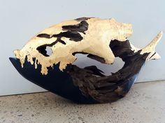 Goldfish - Gold leaf and Acrylic on cared bloodwood fish (sold)