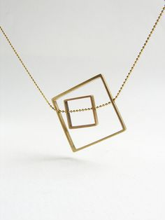 Square statement necklace, Geometric square necklace, brass jewelry, abstract statement necklace on Etsy, $40.00