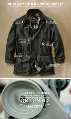 Guide to Barbour - Jacket Anatomy Barbour Jacket Outfit, Barbour Jacket Mens, Mature Mens Fashion, Barbour Clothing, British Style Men, Waxed Cotton Jacket, Wax Jackets, Mode Outfits, Gentleman Style