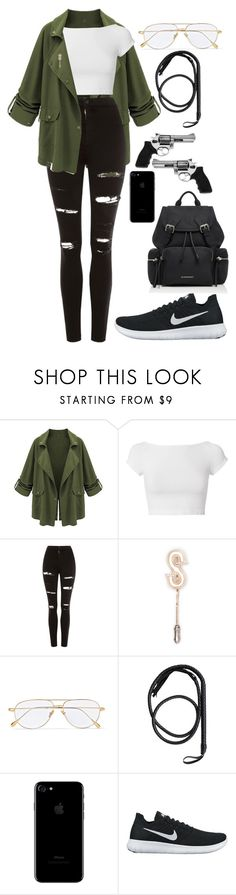 """Tatum Isaacs"" by forever-a-kaitlyn ❤ liked on Polyvore featuring Helmut Lang, Topshop, Kingsman, Revolver, NIKE, Burberry and book"