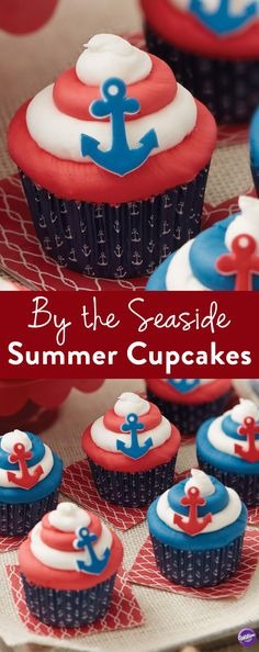 Seaside Summer Cupcakes - Get a taste of the beach life anywhere you go with these cupcakes! From summertime cookouts to beachside clambakes, these cute beach cupcakes are a great way to bring a taste of nautical living with you everywhere you go. Use cute anchor icing decorations to top off these easy cupcakes.