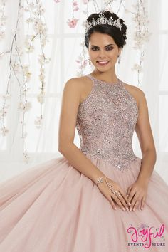 Fit for a modern princess, this beautiful ball gown features a raiser front and back necklines combined with a dramatic glitter tulle skirt. This look is finished with a corset back. by Quinceanera Collection Quince Dresses, 15 Dresses, Fashion Dresses, Wedding Dresses, Corset Dresses, Dresses Online, Pretty Quinceanera Dresses, Quinceanera Party, Quinceanera Decorations