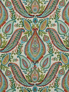 'Portland' Paisley Has a Wealth of Color Bound Up in !00% Cotton Fibers to be Used for Any project That You Have in the Offing, There are Aqua, Lipstick Red, Leaf Green and Mandarin on a Bead of  White.