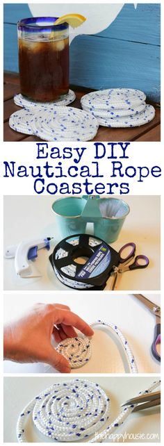 Super easy tutorial for how to make your own adorable outdoor coasters using nautical rope at thehappyhousie.com