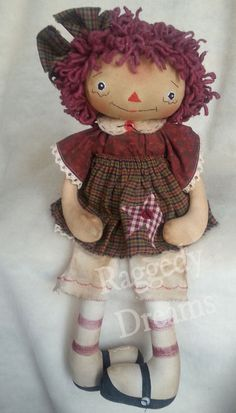 Handmade Primitive Folk Art Raggedy Ann Doll Burgundy Cotton Dress Homespun #15 #NaivePrimitive #Artist