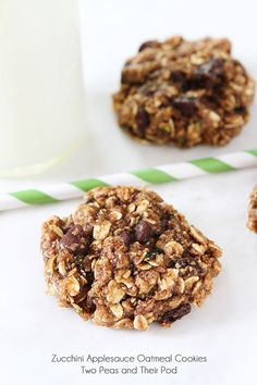 Zucchini Applesauce Oatmeal Cookie Recipe on twopeasandtheirpod.com No butter or oil.