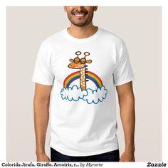 Colorida Jirafa. Giraffe. Arcoiris, rainbow. Regalos, Gifts. #camiseta #tshirt